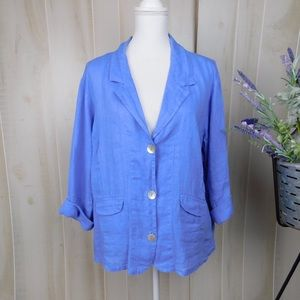 Flax Periwinkle Linen Button Collared Blouse
